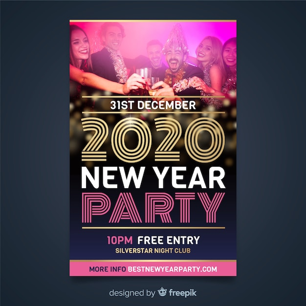 Flyer template for new year 2020 and people at the party Free Vector