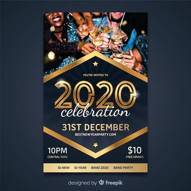 Flyer template for new year 2020 with people drinking champagne Free Vector