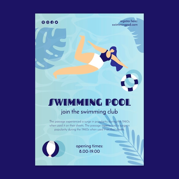 Flyer template for swimming pool club Free Vector