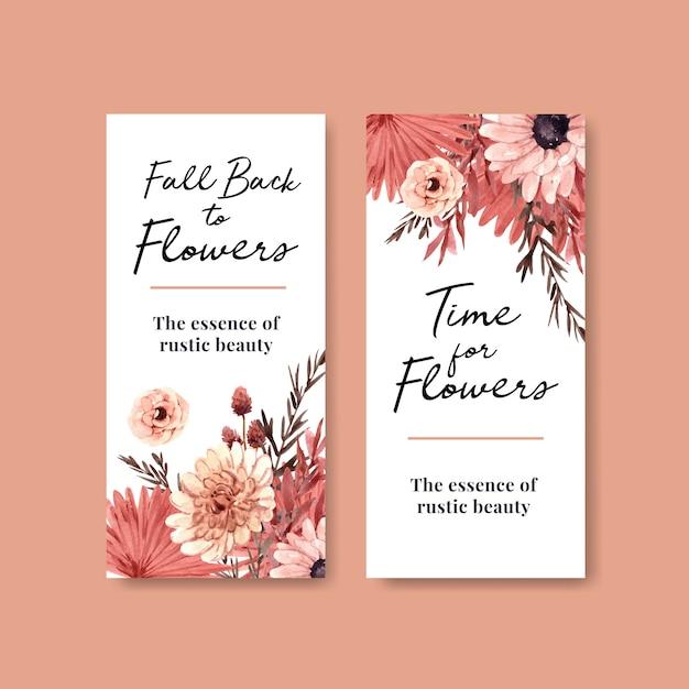 Шаблон флаера с концептуальным дизайном осеннего цветка для брошюры и листовки Бесплатные векторы