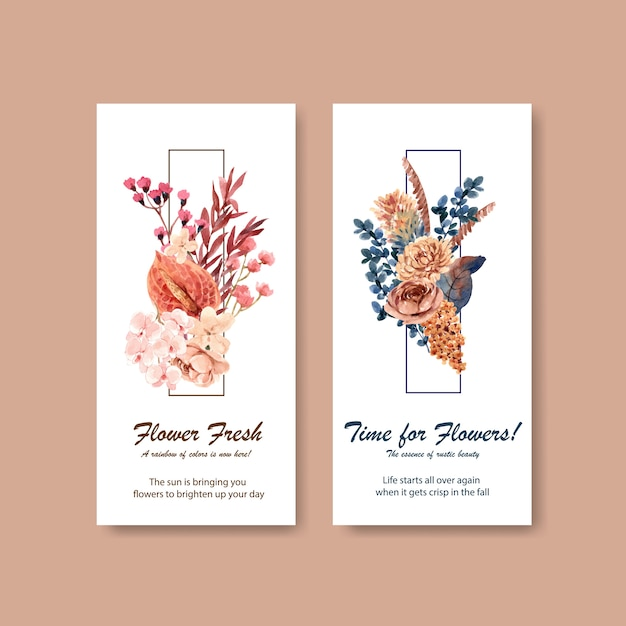 パンフレットやリーフレットの秋の花のコンセプトデザインのチラシテンプレート 無料ベクター