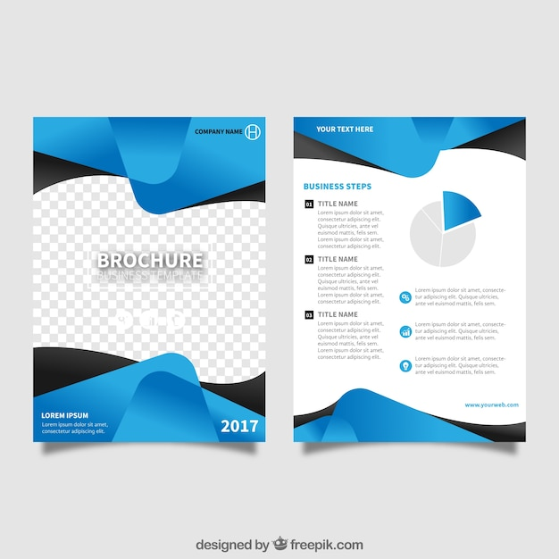 Flyer Template With Blue Abstract Forms Vector Free Download - Templates for brochures free download