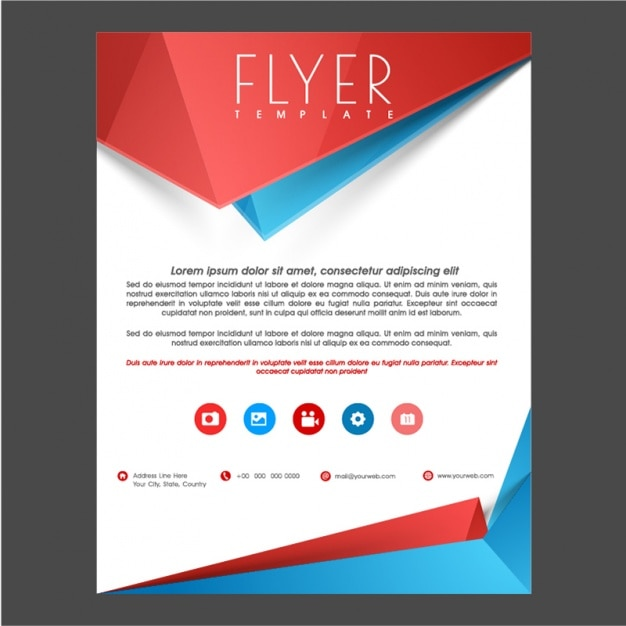 Flyer Template With Blue And Red Details Vector  Premium Download