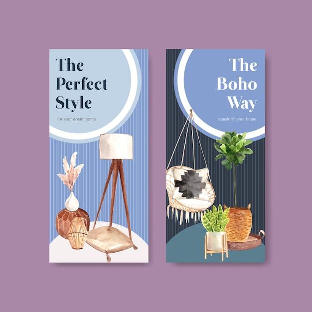 Modello di volantino con boho mobili concept design per brochure e volantini illustrazione ad acquerello Vettore gratuito