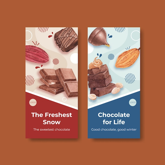 Flyer template with chocolate winter concept design for brochure  and leaflet watercolor vector illustration Free Vector