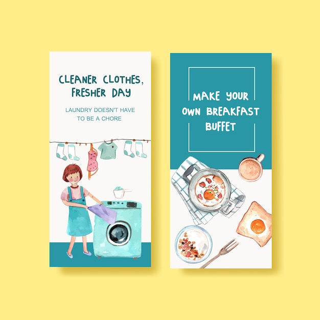 Flyer template with daily life watercolor illustration. cleaner clothes Free Vector