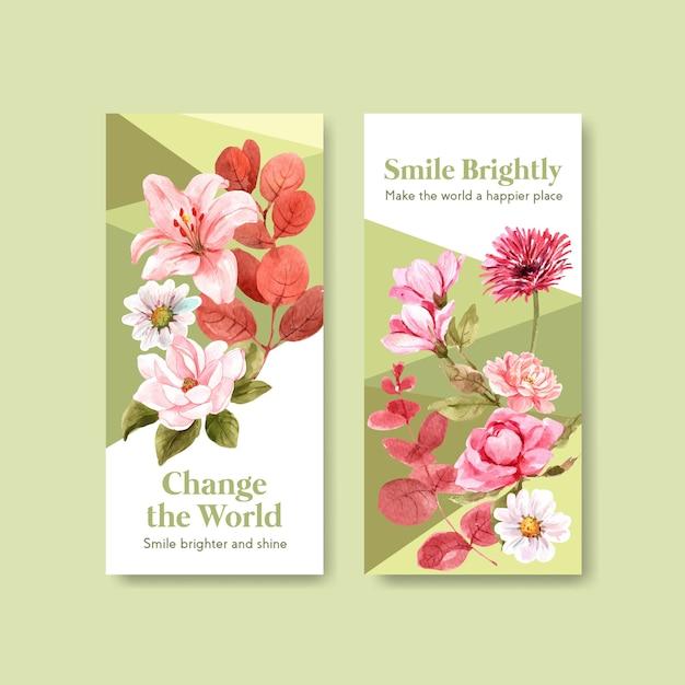Шаблон флаера с дизайном букета цветов для концепции всемирного дня улыбки для брошюры и маркетинговой акварельной векторной иллюстрации. Бесплатные векторы