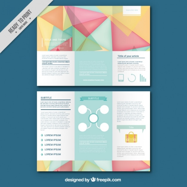 Flyer Template With Geometric Shapes In Pastel Colors Vector