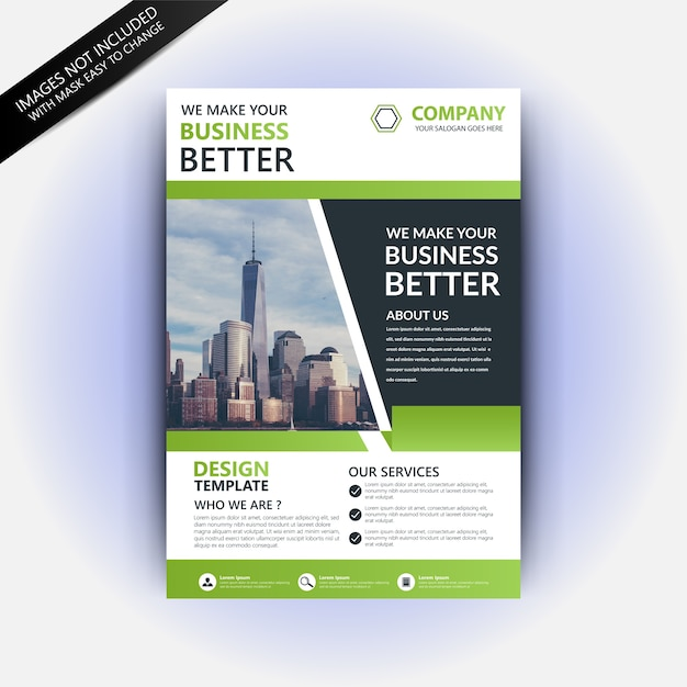 Flyer template with green abstract  Premium Vector