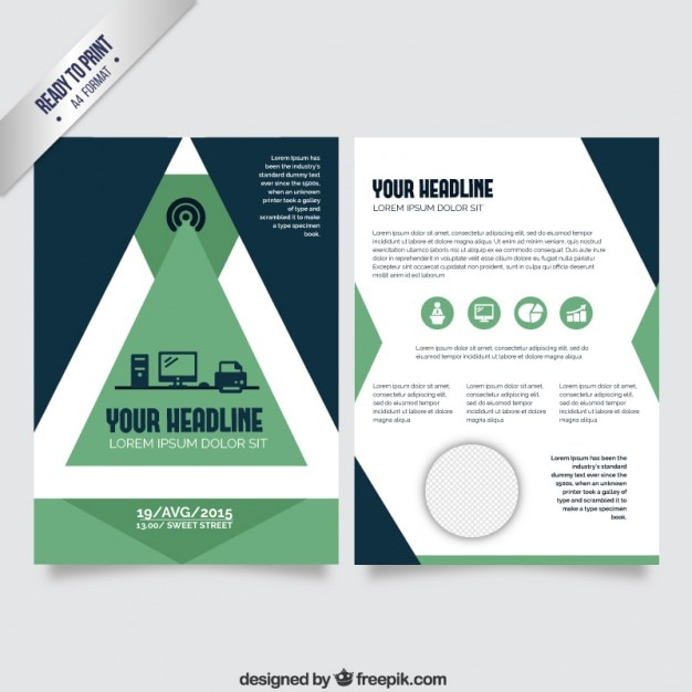 Flyer Template With Green Geometric Vector  Free Download