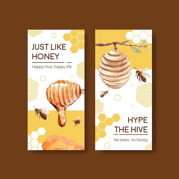Modello di volantino con miele per brochure e volantini acquerello Vettore gratuito