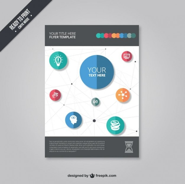 Flyer template with icons Vector | Free Download