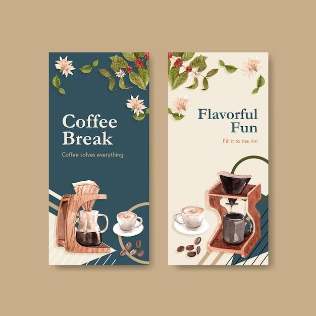 Modello di volantino con concept design della giornata internazionale del caffè per pubblicità e brochure acquerello Vettore gratuito