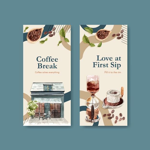 Шаблон флаера с концептуальным дизайном международного дня кофе для рекламы и брошюры акварель Бесплатные векторы