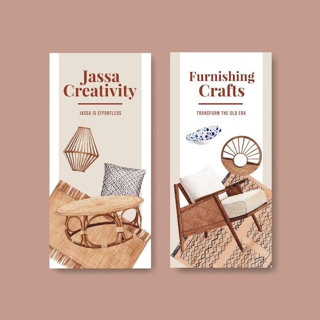 Modello di volantino con concept design di mobili jassa per illustrazione vettoriale acquerello brochure e depliant Vettore gratuito