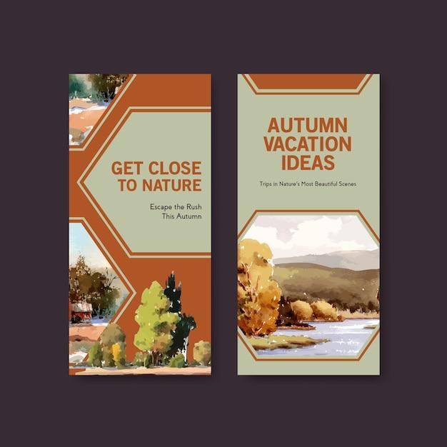 Modello di volantino con paesaggio in autunno design Vettore gratuito