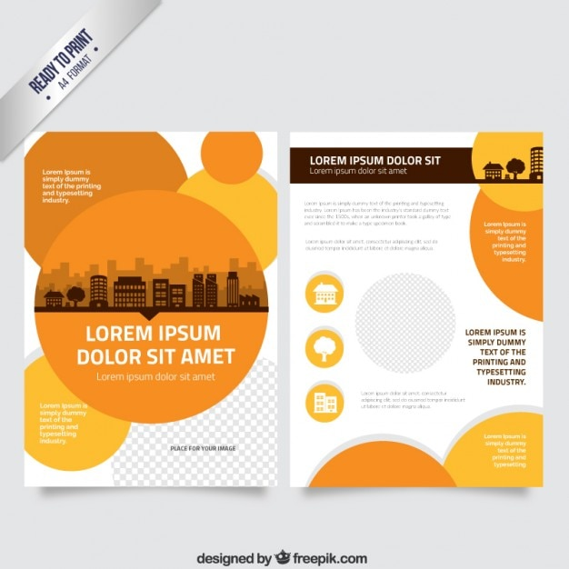Flyer template with orange circles vector free download for Brochure template free download