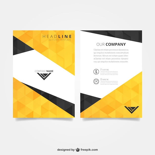 Flyer template with polygonal pattern Free Vector