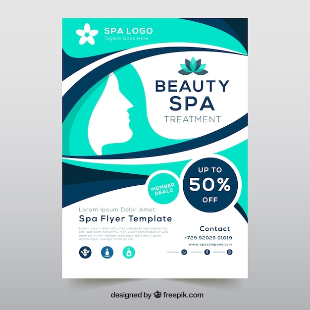 Flyer Template With Spa Information Vector Free Download