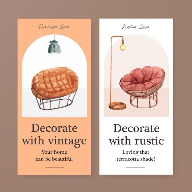 Modello di volantino con concept design di decorazioni in terracotta per brochure e illustrazione di vettore dell'acquerello di marketing Vettore gratuito
