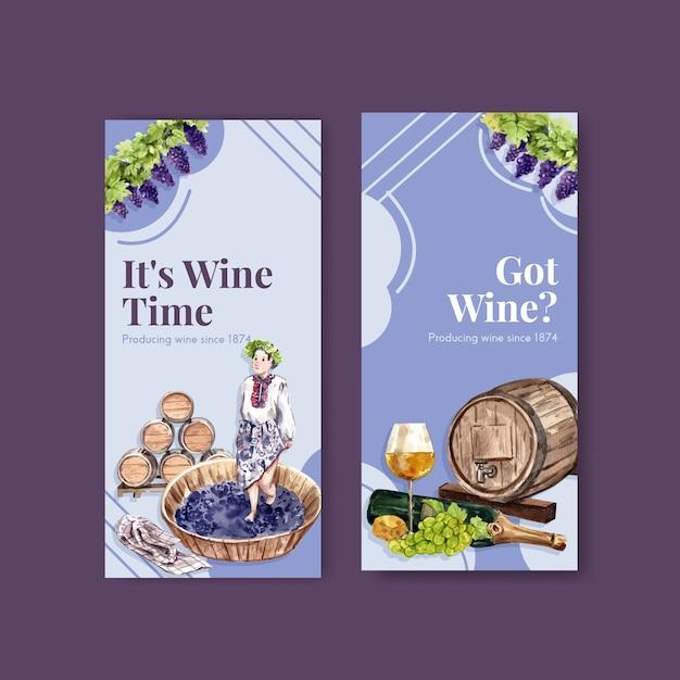 Шаблон флаера с концепцией винной фермы для брошюры и маркетинговой акварельной иллюстрации. Бесплатные векторы