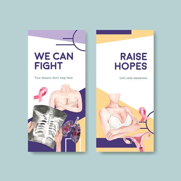 Modello di volantino con concept design giornata mondiale del cancro per brochure e volantini acquerello illustrazione vettoriale. Vettore gratuito