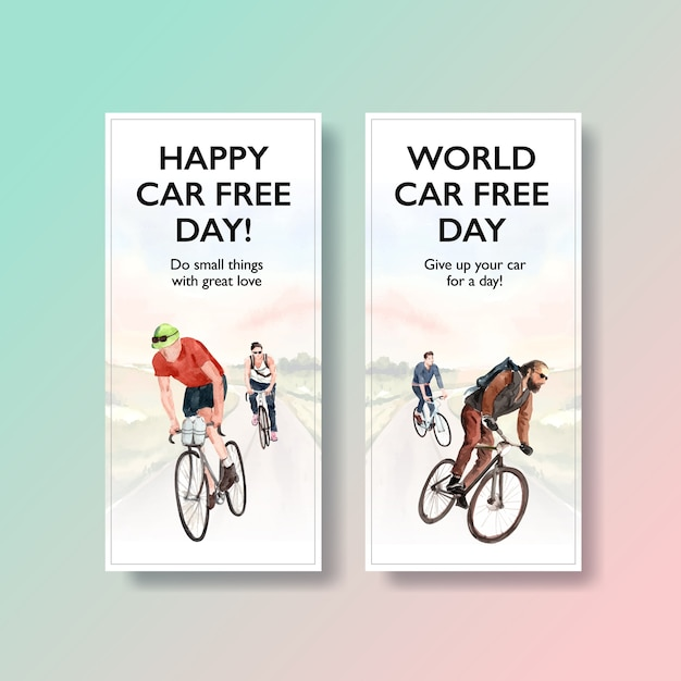 Flyer template with world car free day concept design Free Vector