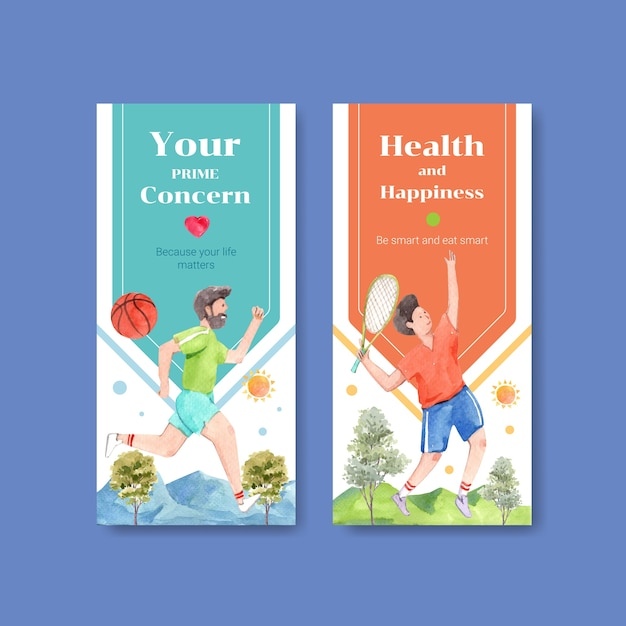 Flyer template with world mental health day concept design for brochure and leaflet watercolor Free Vector