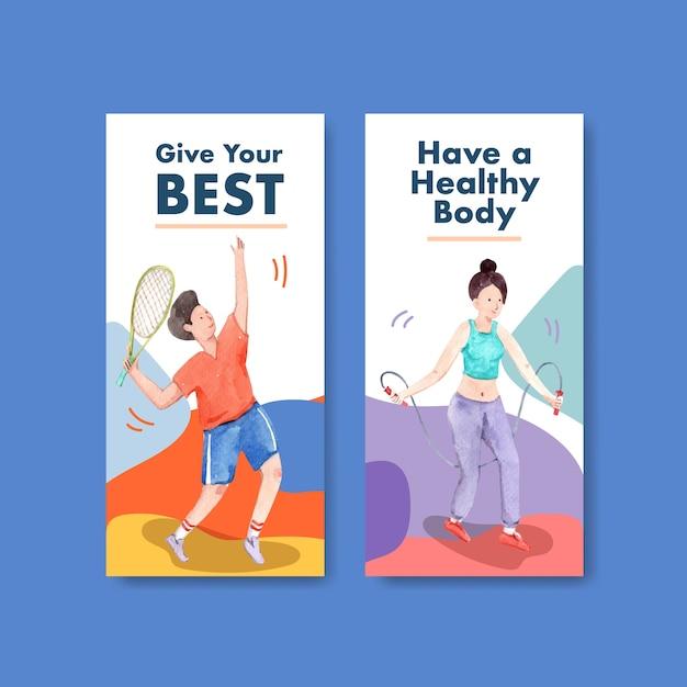 パンフレットやチラシの水彩画の世界メンタルヘルスの日のコンセプトデザインのチラシテンプレート 無料ベクター