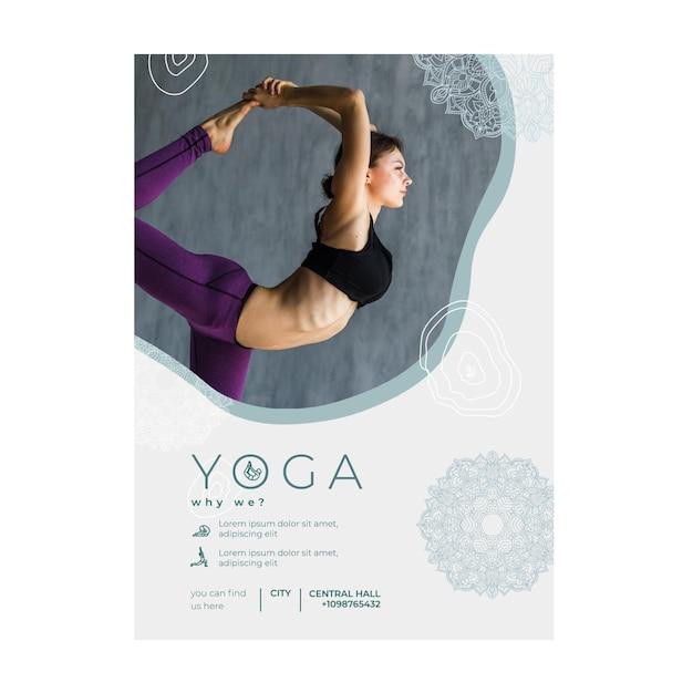 Modello di volantino per la pratica dello yoga Vettore gratuito