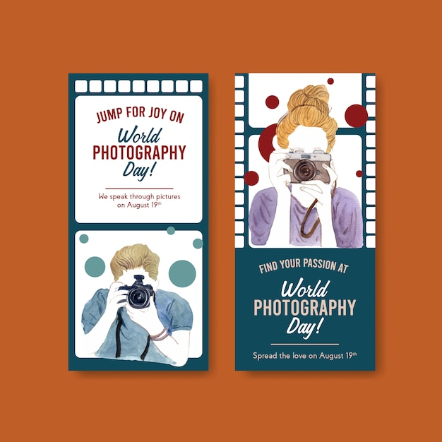 Flyer templates for world photography day Free Vector