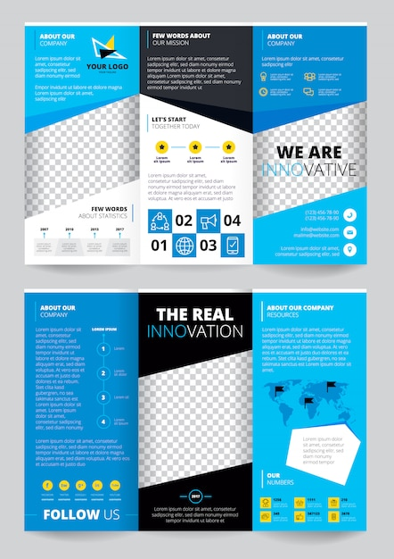 Flyer trasparent design in blue color with business information world map Free Vector