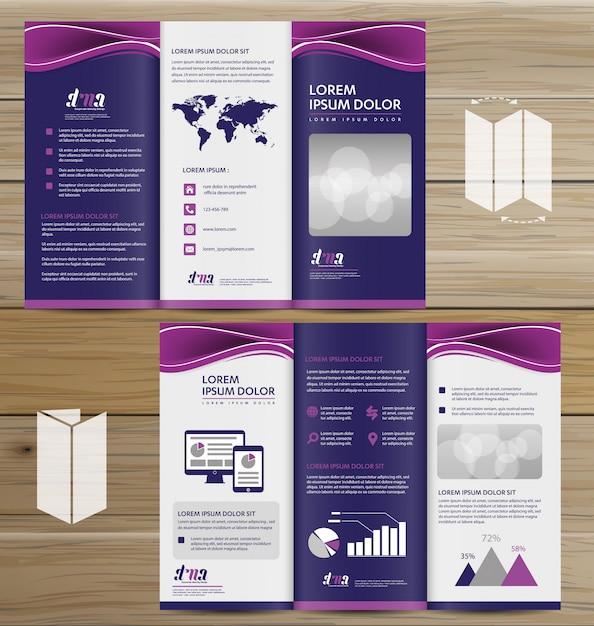 Flyer tri fold brochure leaflet vector design set Premium Vector