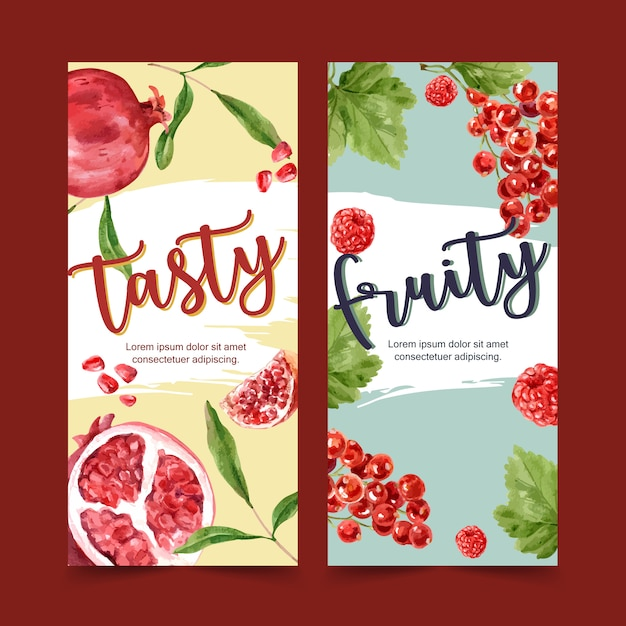 Flyer watercolor with beautiful fruits theme, creative with ruby and berry illustration. Free Vector