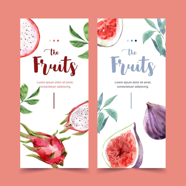 Flyer watercolor with beautiful fruits theme, dragonfruit illustration template. Free Vector