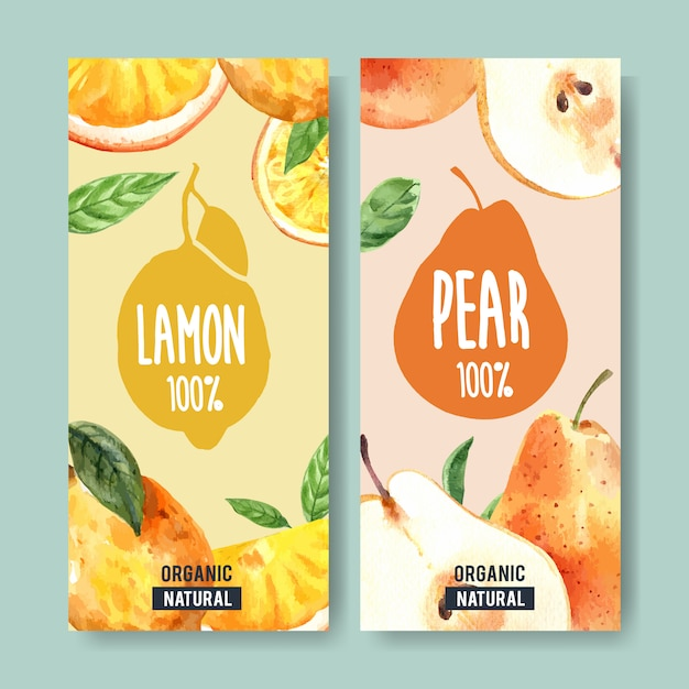 Flyer watercolor with fruits theme, lemon and pear illustration. Free Vector
