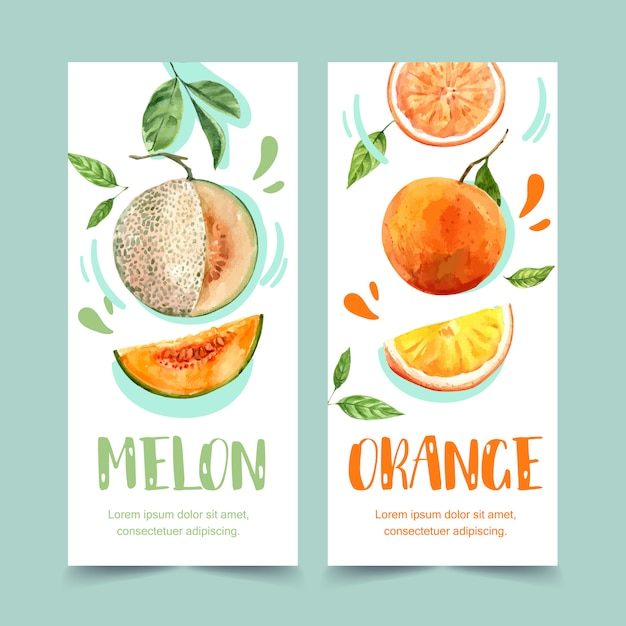 Flyer watercolor with fruits theme, melon and orange illustration template. Free Vector