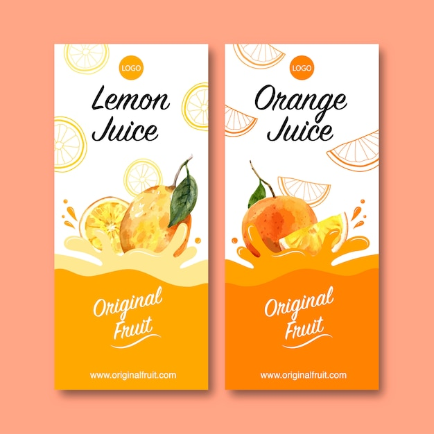 Flyer with fruits themed, creative orange color illustration template. Free Vector