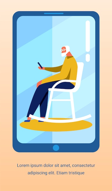 Flyer with old man talking video on mobile screen Premium Vector