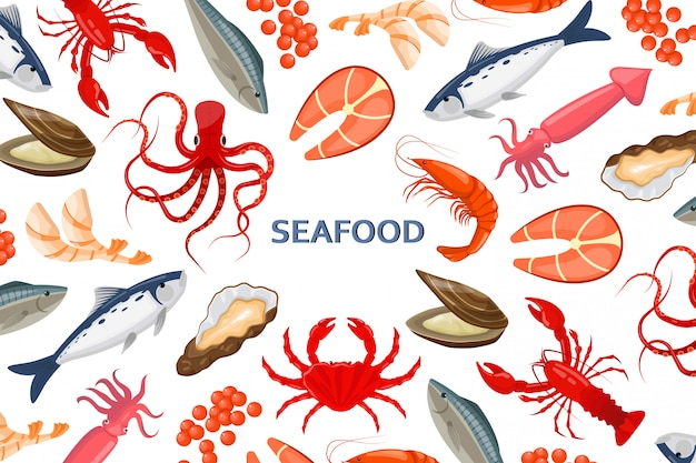 Flyer with seafood Premium Vector