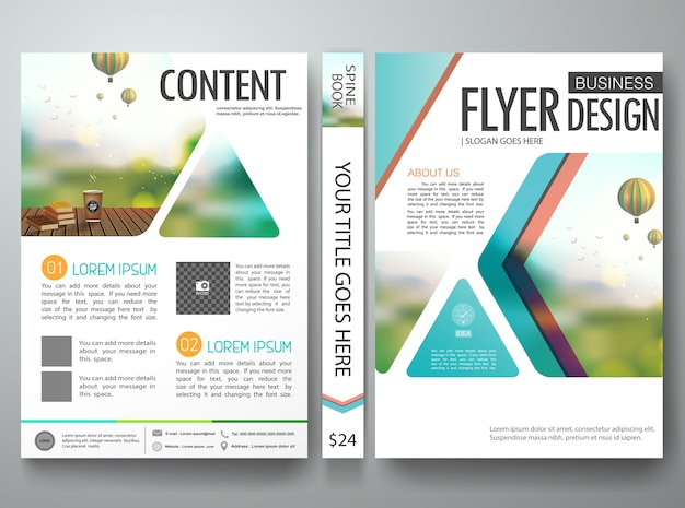 Flyers design template Premium Vector