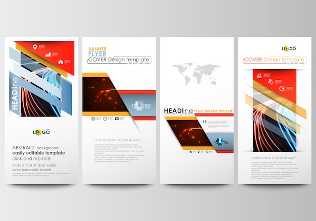 Flyers set, modern banners. business templates. Premium Vector