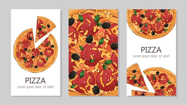 Flyers. template for advertising products: pizza. Premium Vector