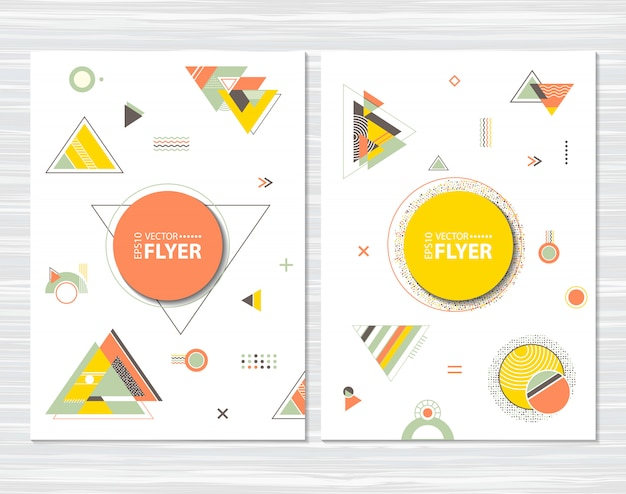 Flyers with abstract geometric shapes Premium Vector