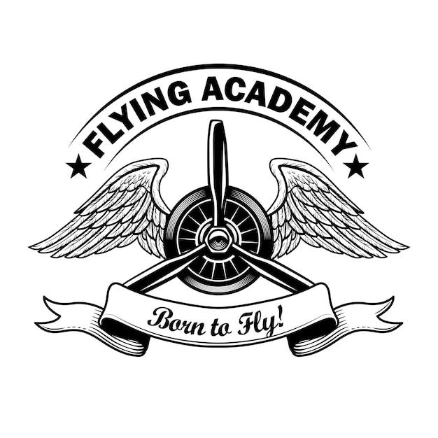 Etichetta dell'accademia di volo Vettore gratuito