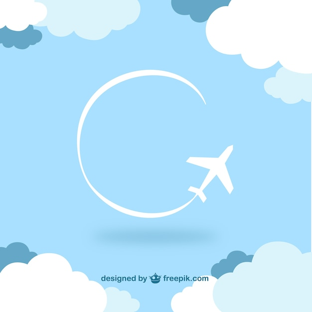 Flying airplane among clouds Free Vector
