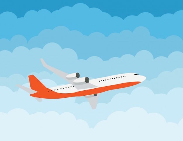 Flying airplane express delivery shipping  concept Premium Vector