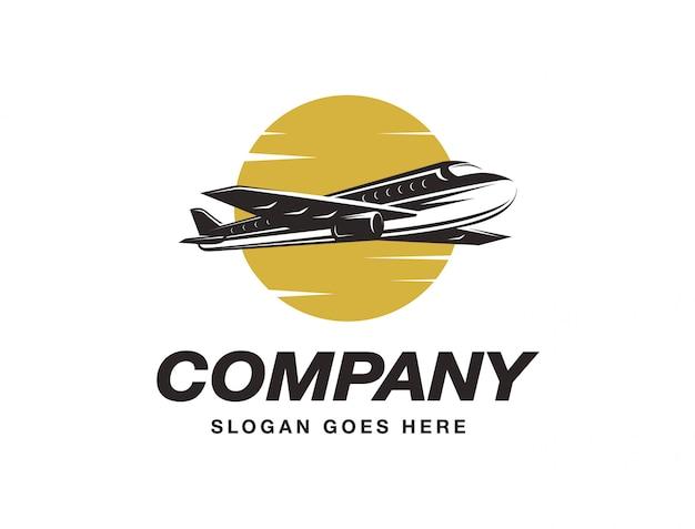 Flying airplane logo Premium Vector