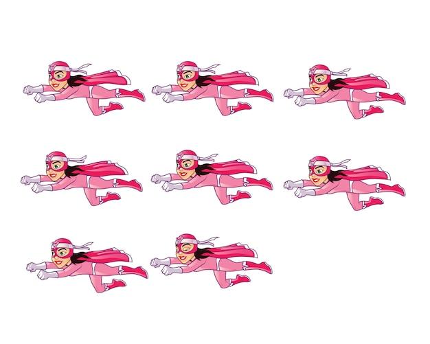 Женский маскарадный супергерой flying animation sprite Premium векторы