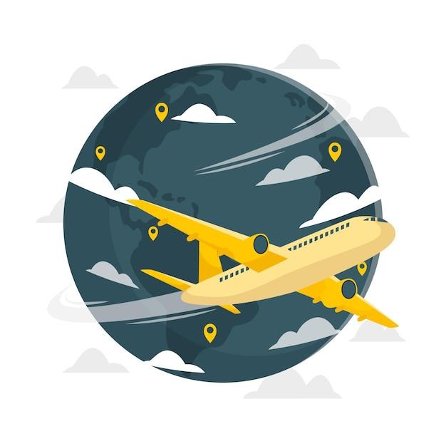 Иллюстрация концепции полета вокруг мира Бесплатные векторы